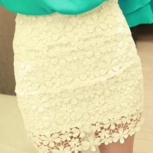White High Waisted Lace Mini SkirtC..