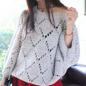 Hollow bat sleeve loose pullover BV..