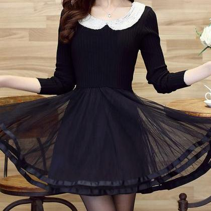 High-end doll collar knit long-slee..