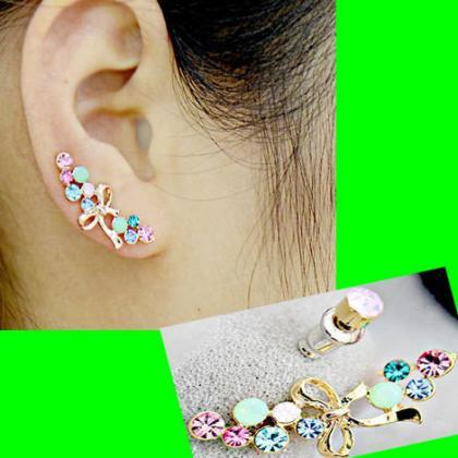 BOWKNOT AND RAINBOW EARRING (2 PIEC..