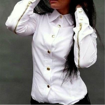 FASHION LONG-SLEEVED ZIPPER SHIRT A..