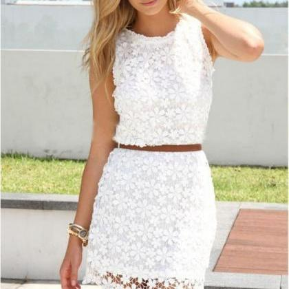 LACE HOLLOW-OUT SLEEVELESS DRESS VD..