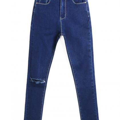 FASHION HOLE LOOSE JEANS T15011003 ..