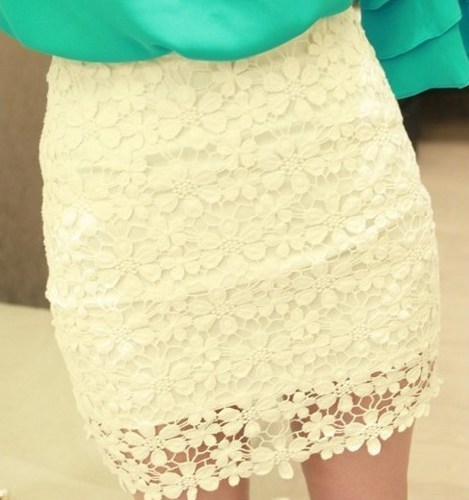 White High Waisted Lace Mini SkirtCC