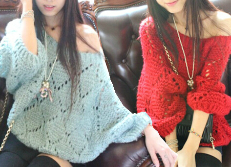 Hollow bat sleeve loose pullover BV1015BB