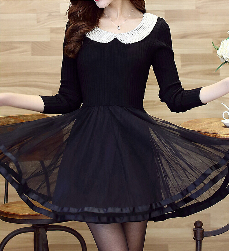High-end doll collar knit long-sleeved lace dress UU1228J