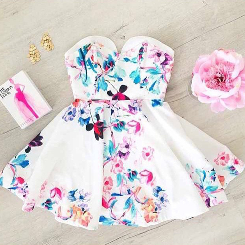 White Strapless Floral Dress