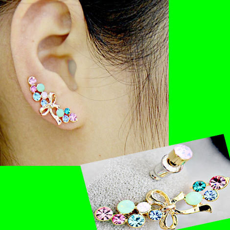 BOWKNOT AND RAINBOW EARRING (2 PIECES)