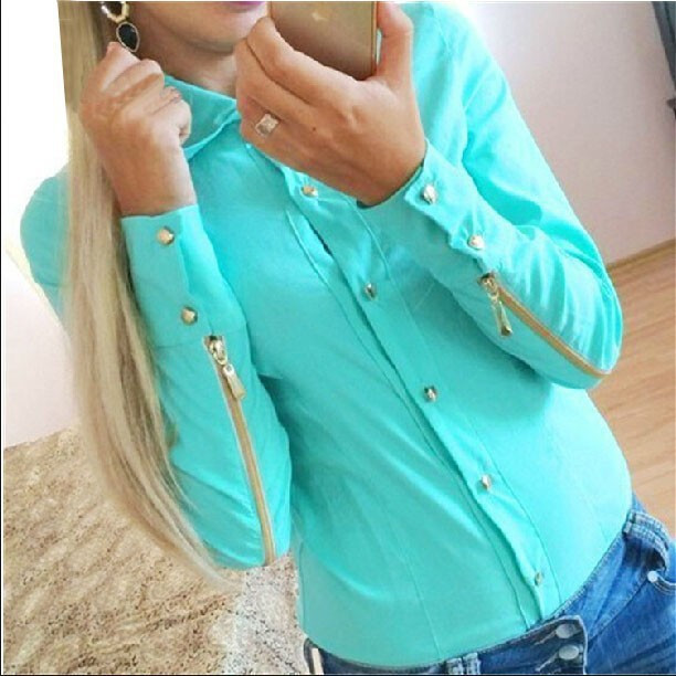 FASHION LONG-SLEEVED ZIPPER SHIRT AS107I