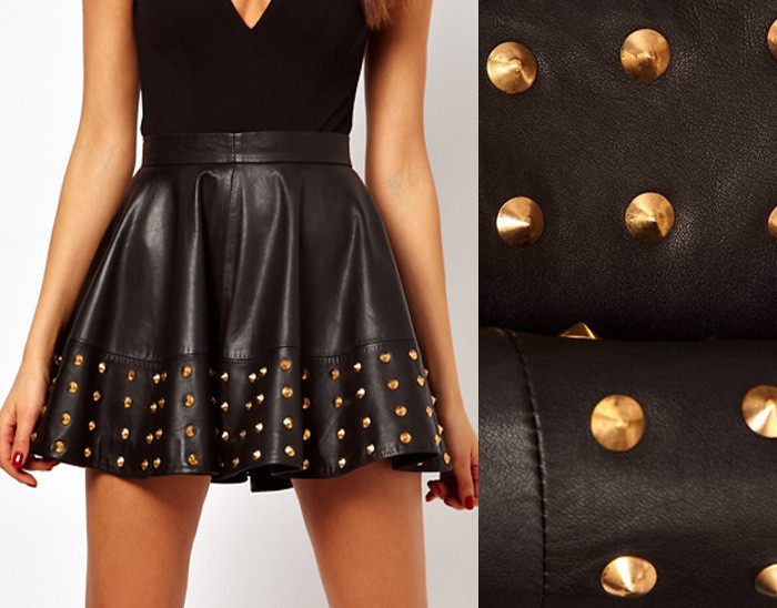 TIGHT RIVET LEATHER SKIRTS PP0110B