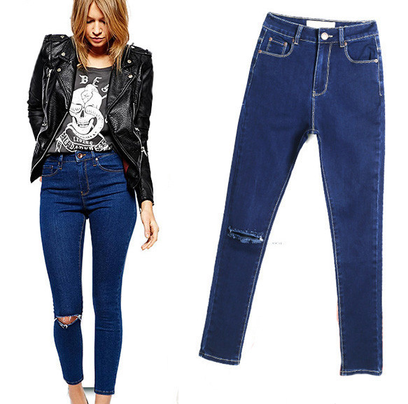 FASHION HOLE LOOSE JEANS T15011003 B