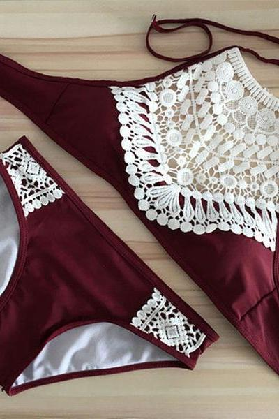 Sexy Fashion Crochet Solid Color Halter Beach Bikini Set Swimsuit Swimwear 37024IF