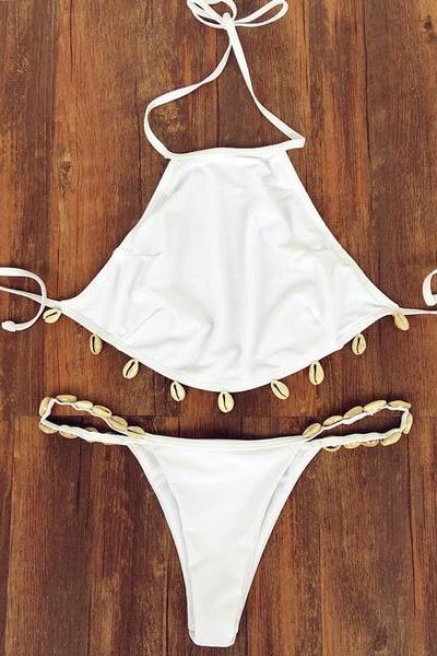 Fashion Solid Color Sexy Halter Shell Bikini Set Swimsuit Swimwear ZZ00058