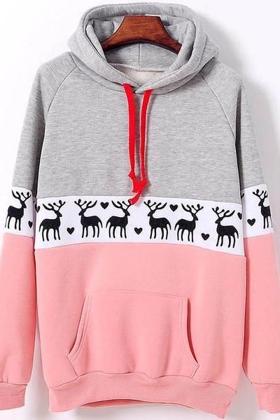 Fashion Christmas Deer Pullover Sweatshirt Hoodie Top Sweater XF1201F