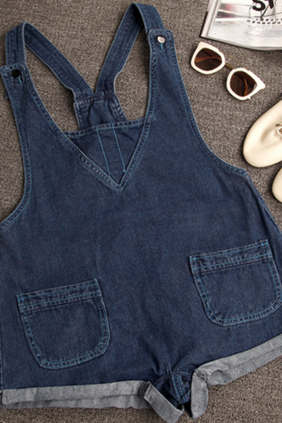 Strap Buttons Fashion Denim Romper jumpsuit 36741IF