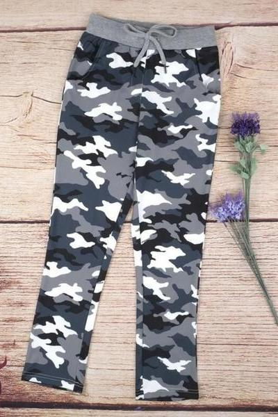 Camouflage Print Strappy Casual Pants Trousers 36630IF