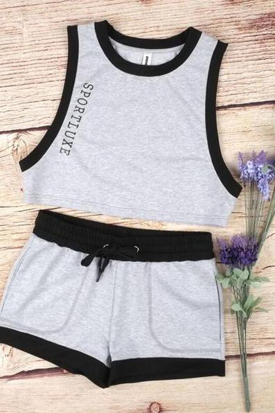 Letter Print Sleeveless Vest Sports Suit 36627IF