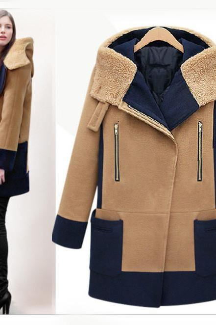 FASHION HOODED WOOL COAT FD1213D