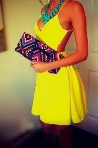 SEXY YELLOW SHOULDER STRAP DRESS GV1215BG