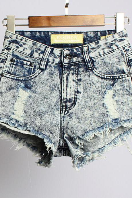 IRREGULAR DENIM HIGH WAIST SHORTS AT0112C