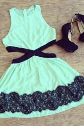 FASHION GREEN LACE SLEEVELESS DRESS KNM93SG