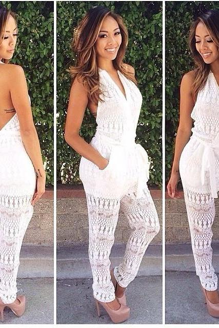 SEXY SLEEVELESS WHITE JUMPSUITS KMY94FG