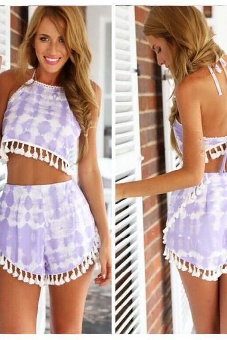 SEXY BACKLESS PURPLE COLOR TWO-PIECE HNS72RA