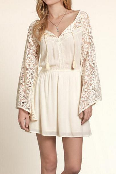 FASHION LACE LONG-SLEEVED DRESS KMS17RY