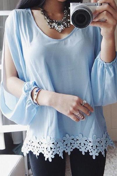 FASHION CHIFFON LONG-SLEEVED T-SHIRT SBA49DT